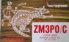 Vintage QSL Card, ZM3PO/C, Lester Price, Chatham Islands, New Zealand,1970