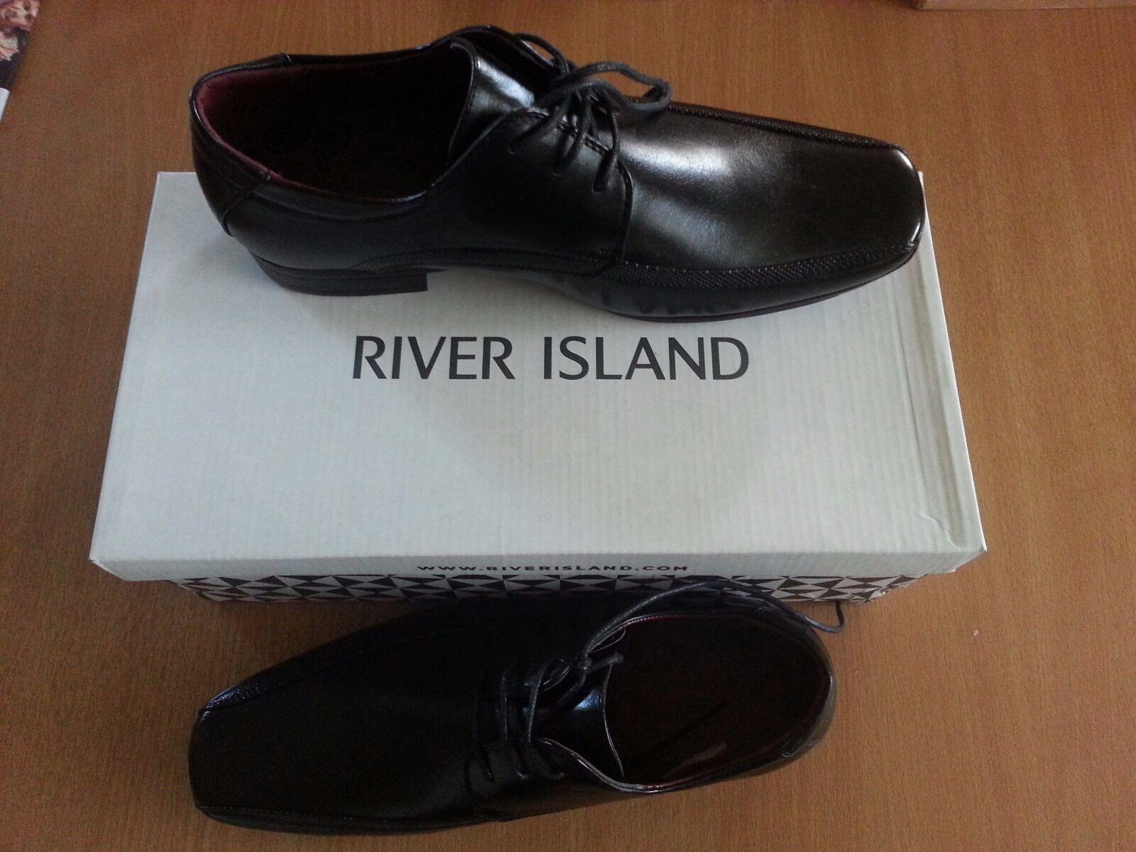 River Island Da Uomo 8 Formali Eleganti Scarpe squaretoe-Nero-Taglia 8 Uomo (42) suola in gomma 5f0de9