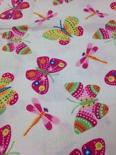 One Yard Plus 29 Inches Of Cotton Quilting Fabric Dragonfly Butterfly