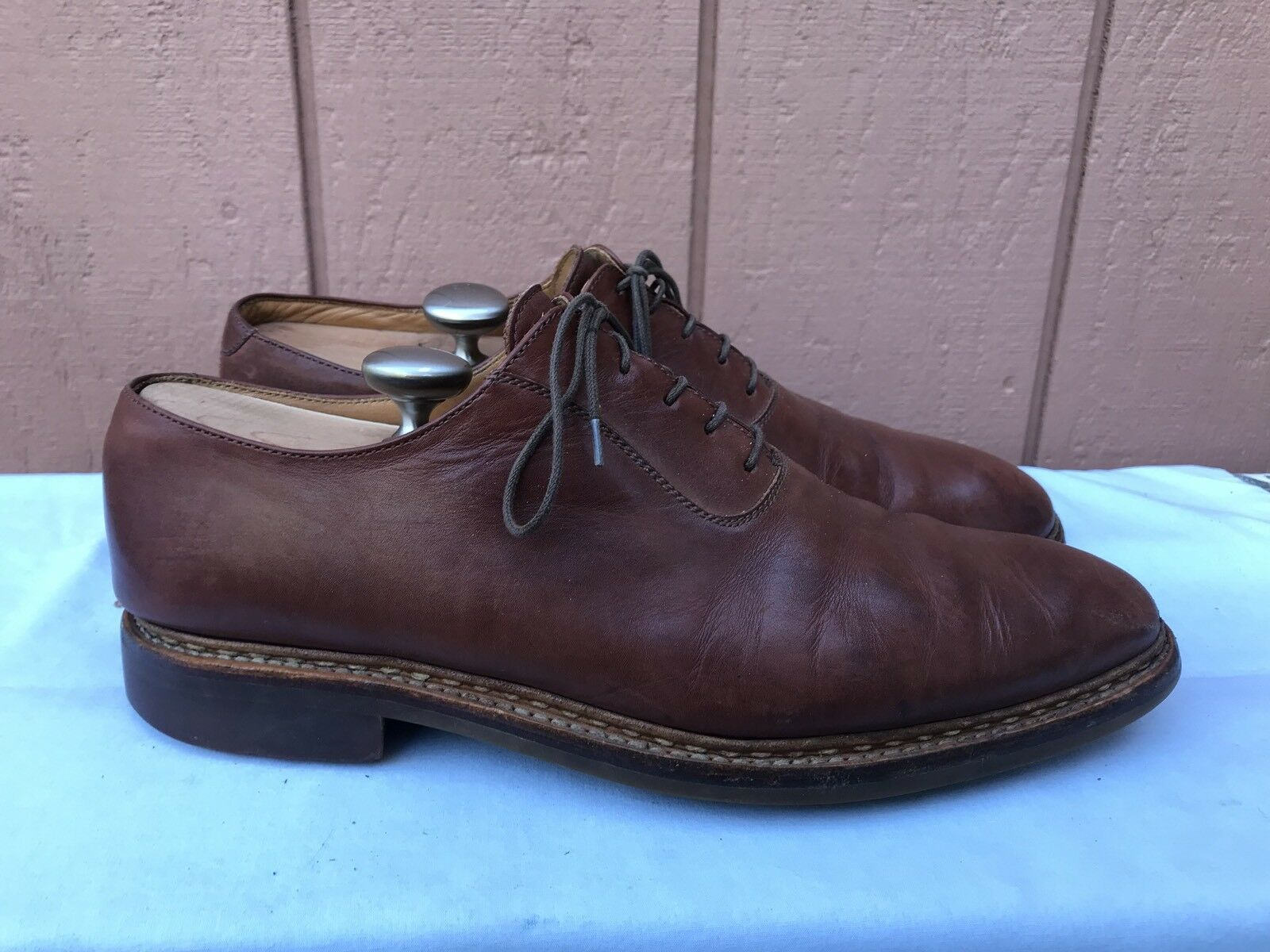 Heschung US 9 Classics Dress Oxford Mens Brown Leather shoes Norwegian  A2