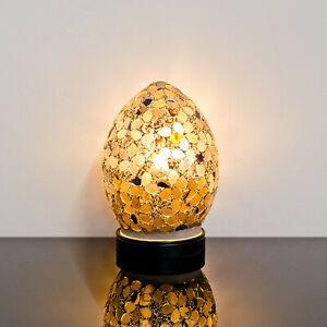 Autumn Flower Small Mosaic Glass Egg Lamp