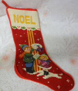 image is loading vintage needlepoint noel wishes letters for santa boy - Girl Christmas Stocking