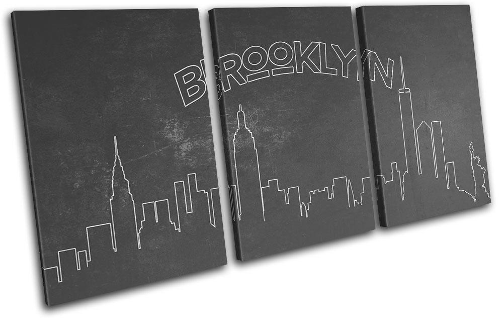 New Brooklyn York Skyline Brooklyn New City TREBLE TOILE murale ART Photo Print 4151c2