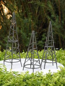 Miniature-Dollhouse-FAIRY-GARDEN-Furniture-Rustic-Iron-Set-3-Obelisk-Trellis