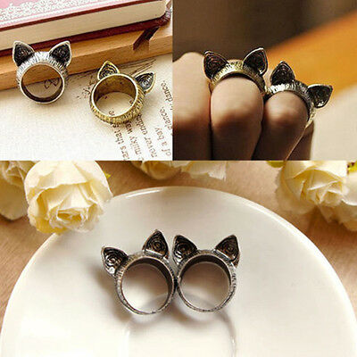 2PCS Fashion Hot Korean Retro Vintage Cute Silver Bronze Cat Ears Ring Jewelry