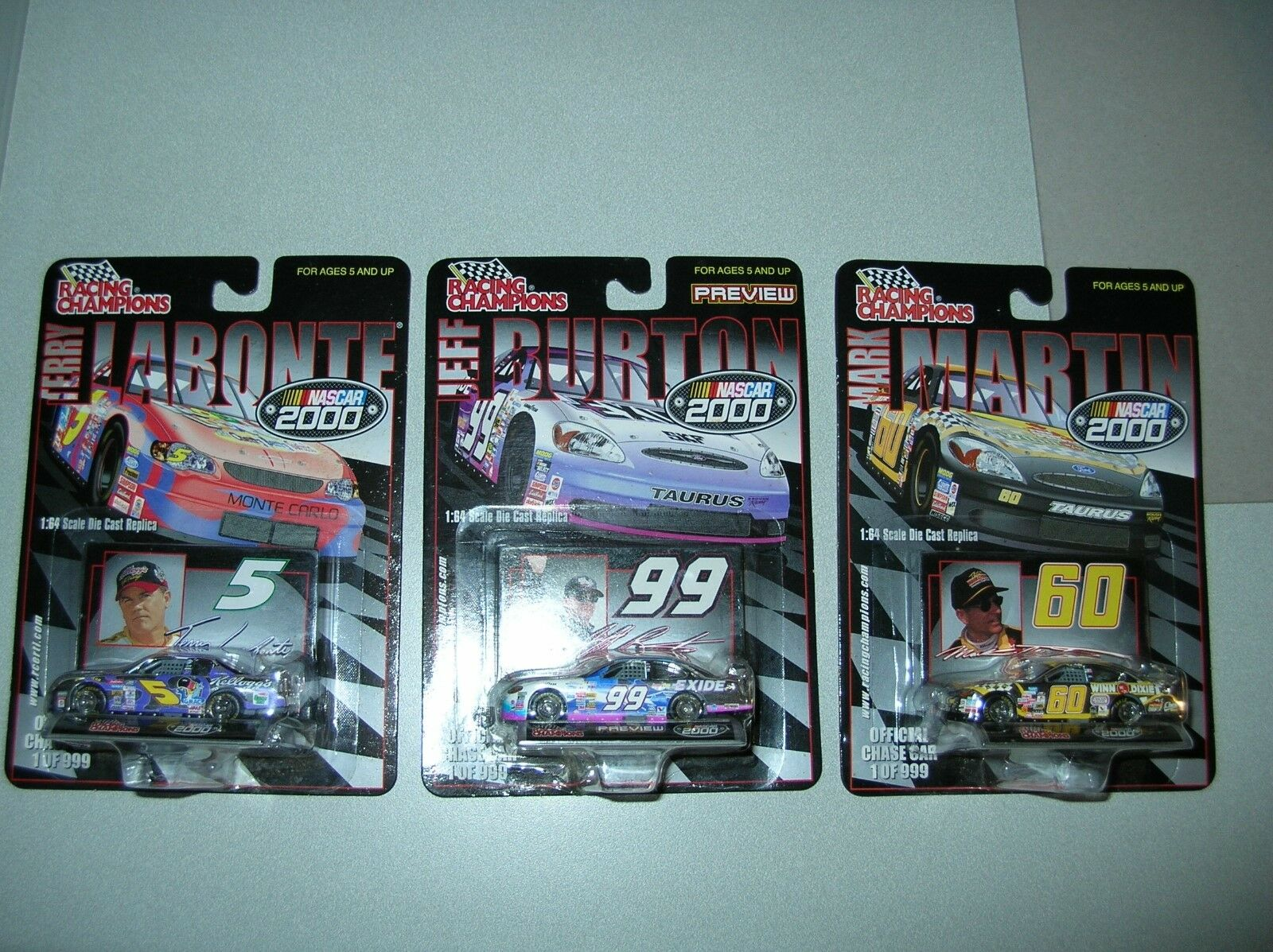 2000 NASCAR RARE Chrome Chase car Terry Labonte Jeff Burton Mark Martin diecast