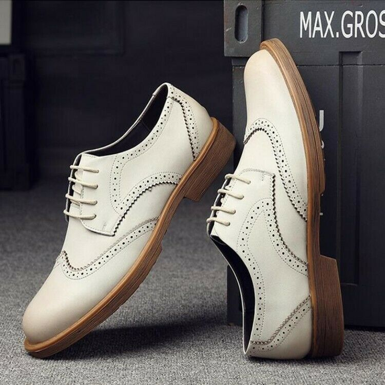 Mens Leather shoes Business Casual Wing Tip carved lace Up Low Top Oxfords shoes