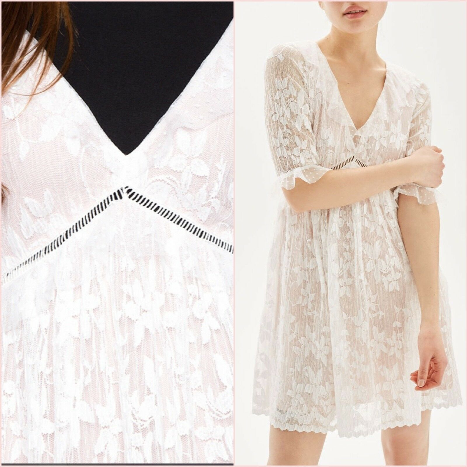 Topshop White Pleated Lace Floral Short Sleeve Dress Size 14 US 10 Blogger