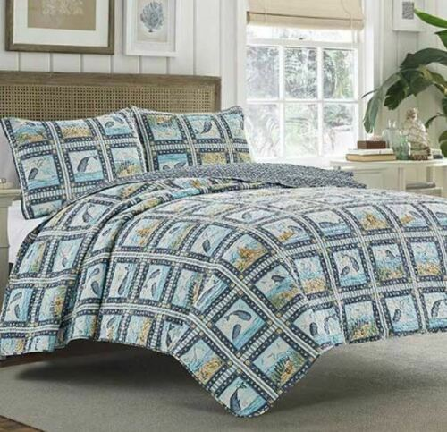 Details about  /KING SIZE WHALE 3 PIECE REVERSIBLE SET QUILT 2 SHAMS SEAGULL CRAB BEACH DOLPHIN