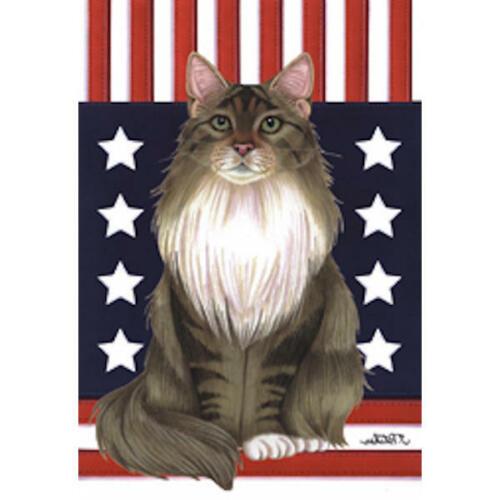 Maine Coon Grey /& White Patriotic Decorative Flag