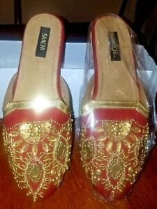 Womens-SAACHI-Red-and-Gold-Beaded-Mule-Shoes-Slides-Slippers-Size-6