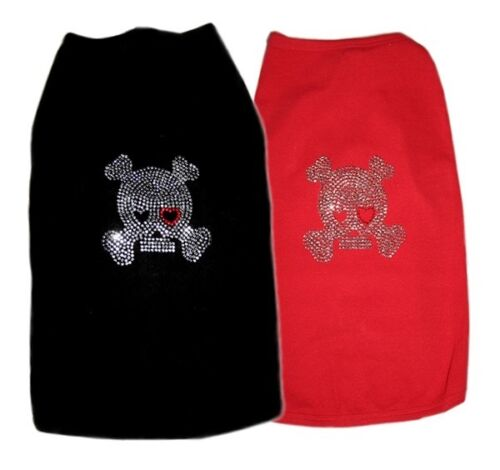 ABS Custom Dog Tee T-Shirt Tank SKULL RHINESTONE Large Dogs Pups Stretchy