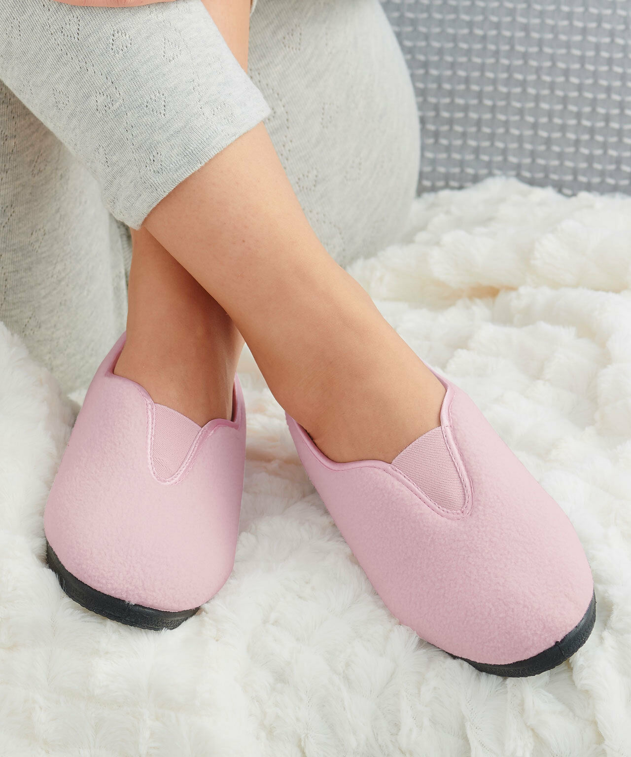 Pink Thermolactyl Ballerina Slippers Size 7 Damart/Thermal<wbr/>/Rose/Textile/<wbr/>Shoe/NEW