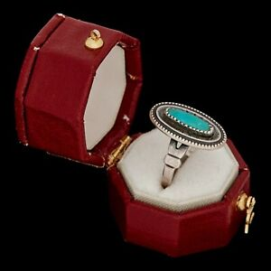 Antique-Vintage-Sterling-Silver-Native-Navajo-Pawn-Turquoise-Band-Ring-Sz-4-75