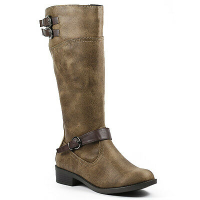 CAMEL BROWN FAUX LEATHER GIRLS KIDS KNEE HIGH BOOT SIDE ZIPPER BUCKLE