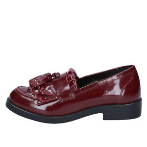 womens-shoes-EMANUELLE-VEE-4-EU-37-moccasins-burgundy-leather-BX382-37