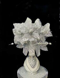 WHITE ROMANY 30cm VASE WITH FLOWERS SILVER CRUSH PEARL BLING