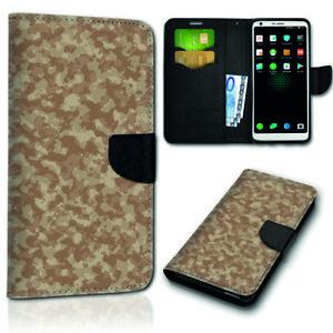 Smartphone-Flip-Handy-Tasche-New-228-4-Camouflage-braun-Schutzhulle