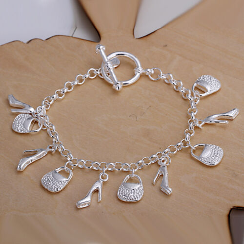 Wholesale sterling solid silver Fashion Charms chaussures /& sacs Bracelet XLSB 108