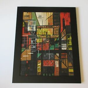 DORA-LEMMER-PAINTING-MID-CENTURY-ABSTRACT-CITY-CUBISM-EXPRESSIONISM-INDUSTRIAL
