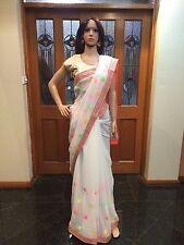 Indian Designer Saree Bollywood Party Wear Diwali Sari Dress White Orange Casual