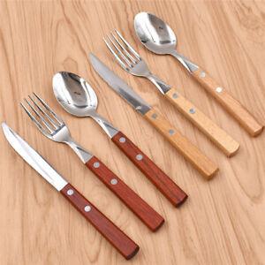 Mit-Holzgriff-18x-Set-Besteck-Messer-Gabel-Loeffel-Vintage-Abendessen-Geschirr