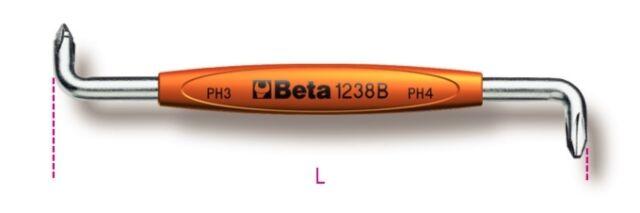 Beta Tools 1238B-Offset Screwdriver For Cross Head Phillips Screws 1-2 Ph 125mm