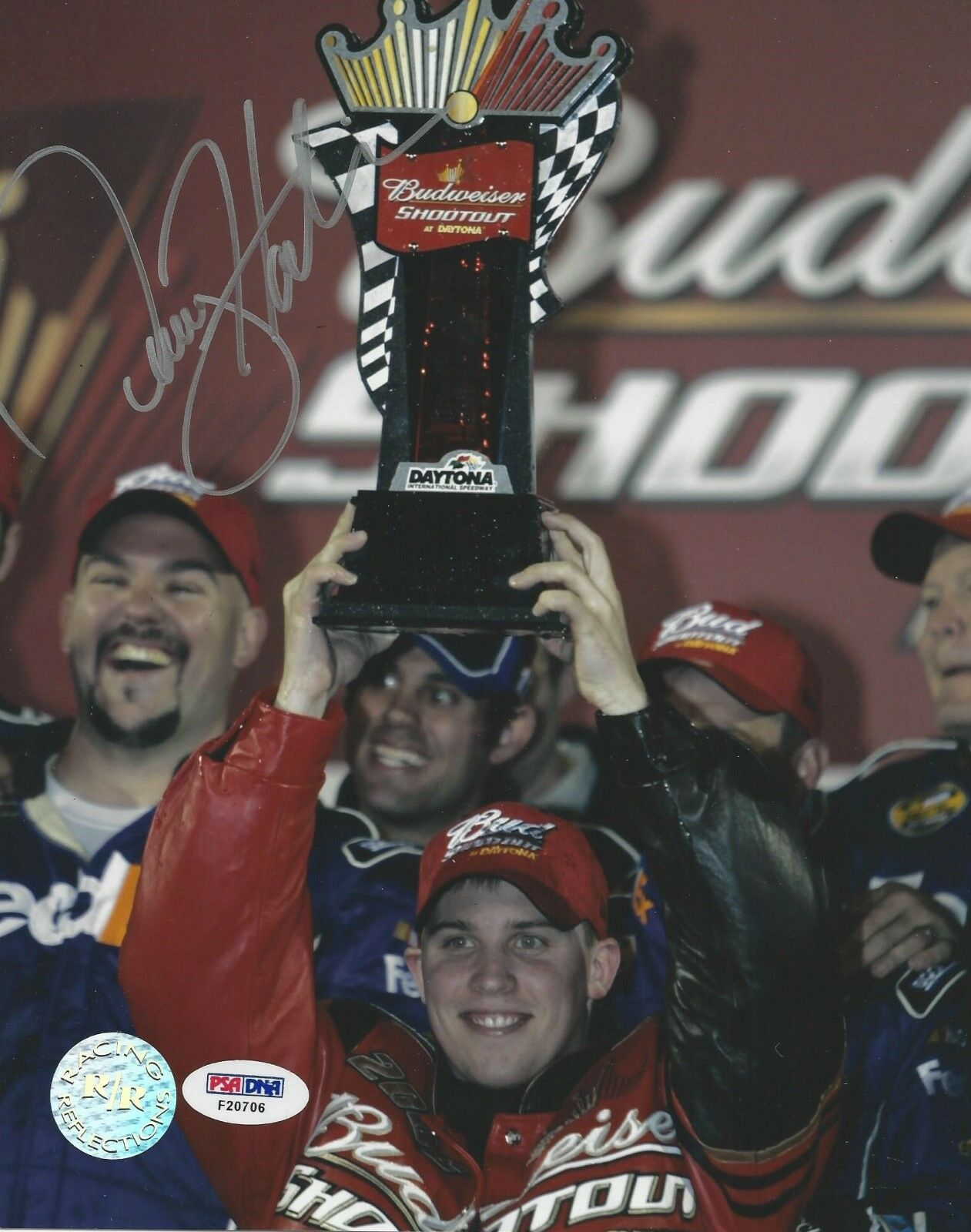 Denny Hamlin Signed Daytona Win 8x10 Photo PSA/DNA Cert # F20706