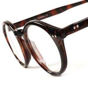 DESIGNER-Vintage-Tortoise-Round-Frame-Herren-Damen-Durchsichtige-Linse-Brillen-E70B