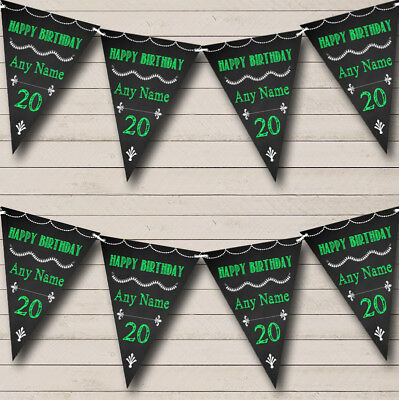 Chalkboard Style Black /& White Personalised Birthday Party Bunting