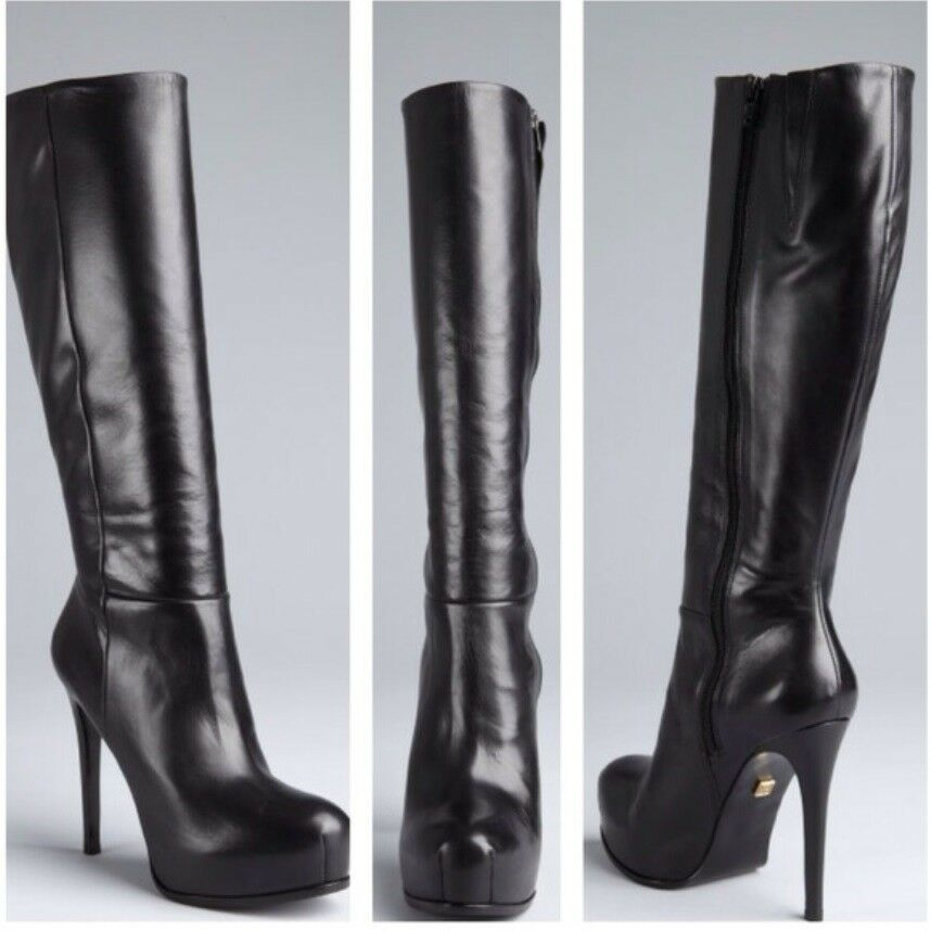 8 POUR LA VICTOIRE BLACK LEATHER PLATFORM STILETTO BOOTS  NEW 1295 SOLD OUT