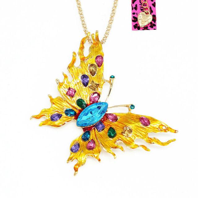 Pin By Crystal Johnson On Baldwin Hills Dam Break: Betsey Johnson Gold Enamel Crystal Butterfly Pendant Chain