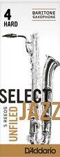 1 Box of 5 D'Addario/Rico Select Jazz Reeds for Baritone Sax. 4-Hard/4H. Unfiled
