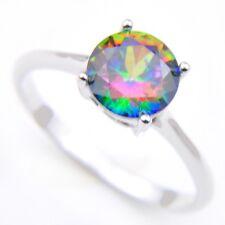 Dazzling Round Rainbow Mystic Topaz Cubic Zirconia Silver Rings Size 7 8 9
