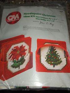 Plastic Canvas Christmas Coaster Patterns.Details About Vintage 1980 Needlepoint Plastic Canvas Christmas Coaster Set Kit