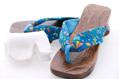 K-G-09 Blau blue Geta Japan Holz Sandale Tabi Socken Kimono Geisha 24,5cm//Gr 38