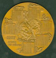 MEDAILLE DE TABLE CALENDRIER 1987 ANNEE DU LIEVRE MONNAIE DE PARIS BRONZE