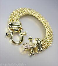 NEW Designer Inspired Gold Mesh Black Onyx CZ Pave Crystals Buckle Bracelet