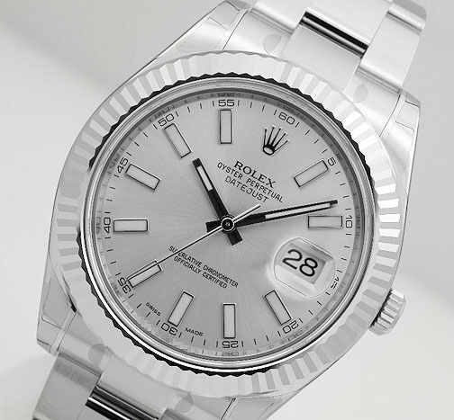 Rolex DATEJUST II 116334 Mens Steel & White Gold Oyster Silver Stick Dial 41MM