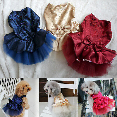 Bling Bowknot Lace Party Dress Pet Dog Clothes Vest Skirt Costume Puppy Apparel