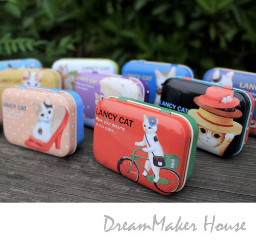 =Vintage=Cute Lancy Cat=Tin Box=Metal Container=Candy Case=Medicine Pill Storage