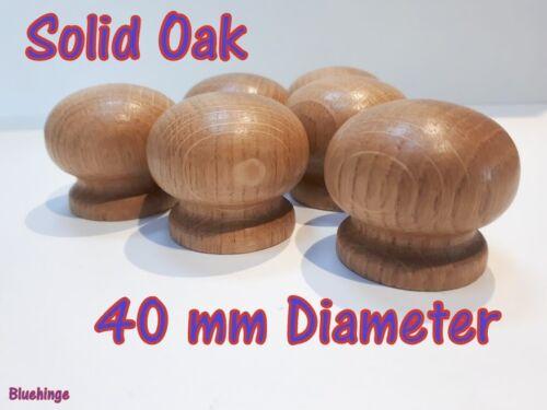 14 Wooden Knobs Handle Kitchen Door Drawer Solid Oak Wood 40 mm Diameter Round