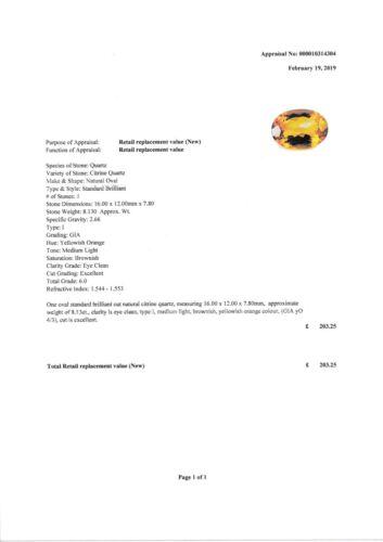 LARGE 16x12mm OVAL-FACET NATURAL AFRICAN GOLDEN CITRINE GEMSTONE APP £203