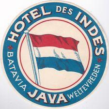 Indonesia Jakarta Java Batavia Hotel Des Indes Vintage Luggage Label lbl0978