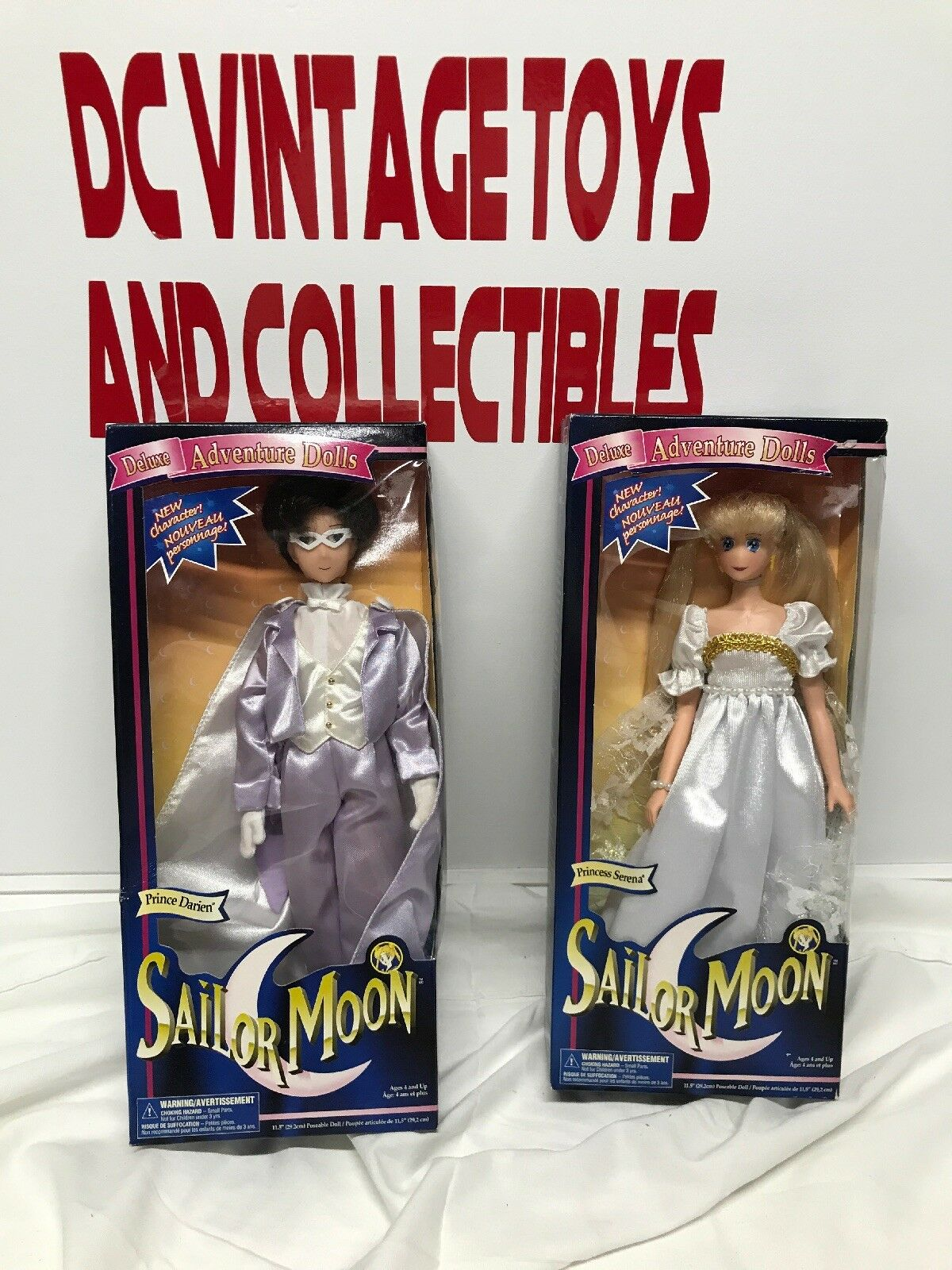 SAILOR MOON 12 INCH PRINCESS SERENA & PRINCE DARIEN BRAND NEW 1997  IRWIN TOYS