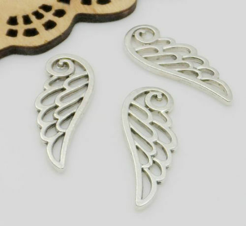 Free Ship 50Pcs Tibetan Silver Angel Wing Charms Pendentif Fit Bracelet 10x25mm