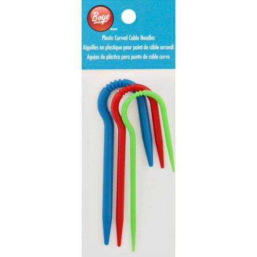 GROOVES TO HOLD YOUR STITCHES BOYE PLASTIC CURVED CABLE 3 NEEDLE SET