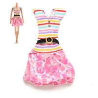 Fashion Dresses For Barbies Striped Top Printed Tutu Skirt Doll Clothes