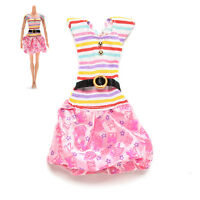 1 X Fashion Dresses For Barbies Striped Top Printed Tutu Skirt Doll Clothes Fo