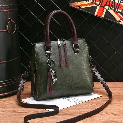 K Retro Oil Leather Womens Handbag Lady Crossbody Top Handle Tote Shoulder Bag